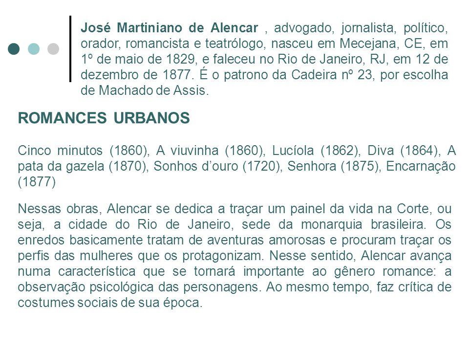 José Martiniano de Alencar , advogado, jornalista, político, orador, romancista e teatrólogo, nasceu em Mecejana, CE, em 1º de maio de 1829, e faleceu no Rio de Janeiro, RJ, em 12 de dezembro de 1877. É o patrono da Cadeira nº 23, por escolha de Machado de Assis.