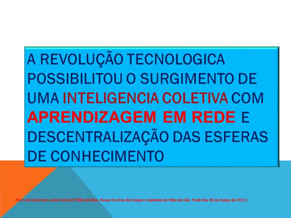 A REVOLUÇÃO TECNOLOGICA POSSIBILITOU O SURGIMENTO DE UMA INTELIGENCIA COLETIVA COM APRENDIZAGEM EM REDE E DESCENTRALIZAÇÃO DAS ESFERAS DE CONHECIMENTO