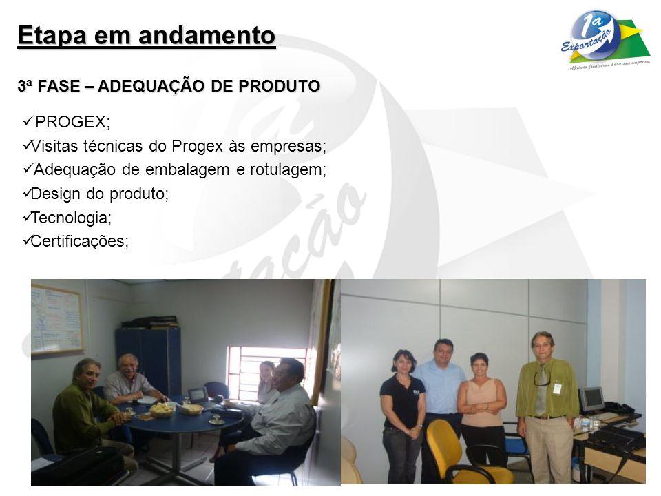 Etapa em andamento 3ª FASE – ADEQUAÇÃO DE PRODUTO PROGEX;