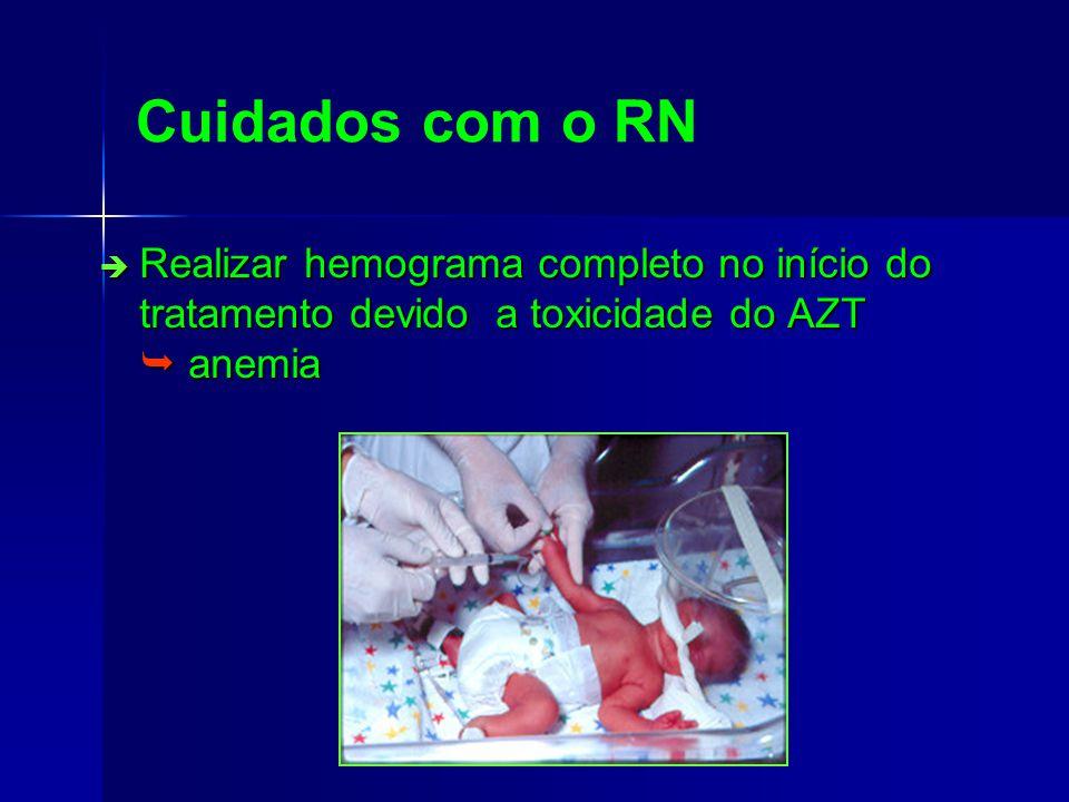 Cuidados com o RN Realizar hemograma completo no início do tratamento devido a toxicidade do AZT  anemia.