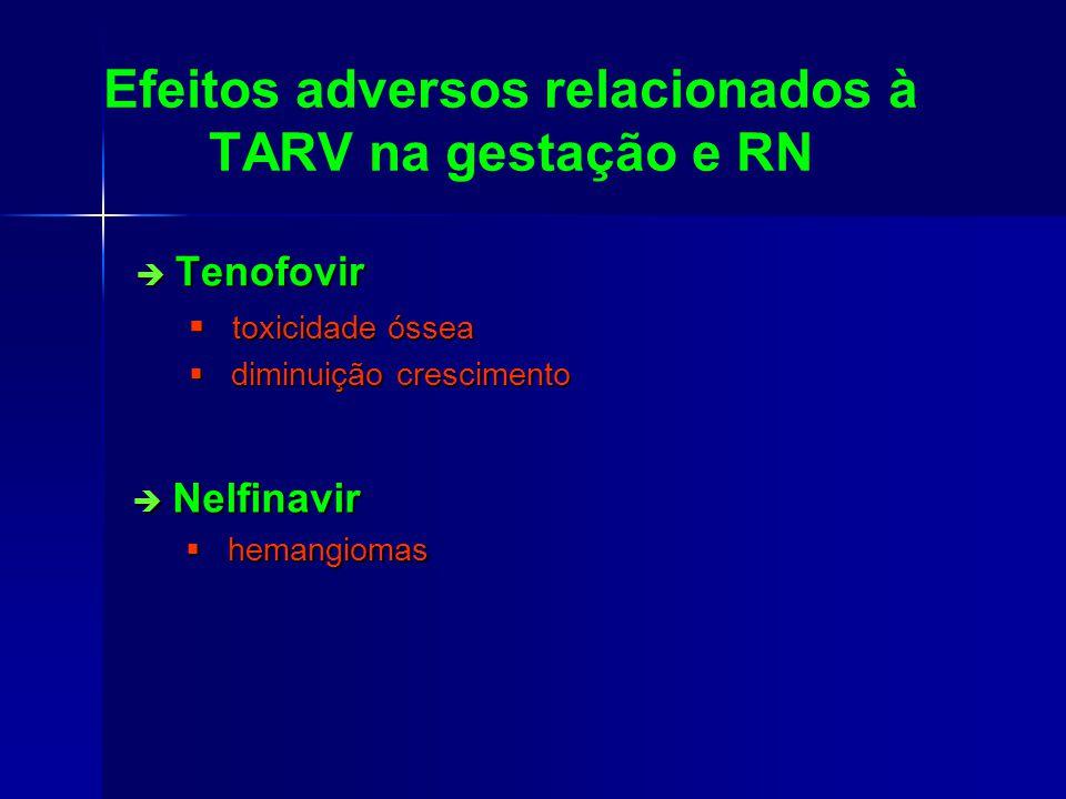 Efeitos adversos relacionados à TARV na gestação e RN