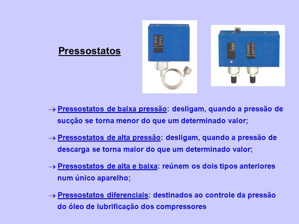 Pressostatos  Pressostatos de baixa pressão: desligam, quando a pressão de sucção se torna menor do que um determinado valor;