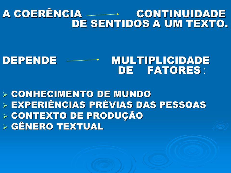 A COERÊNCIA CONTINUIDADE DE SENTIDOS A UM TEXTO.