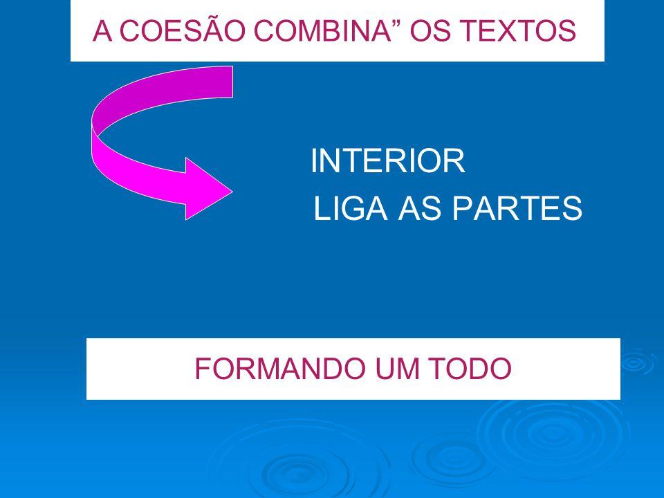 A COESÃO COMBINA OS TEXTOS