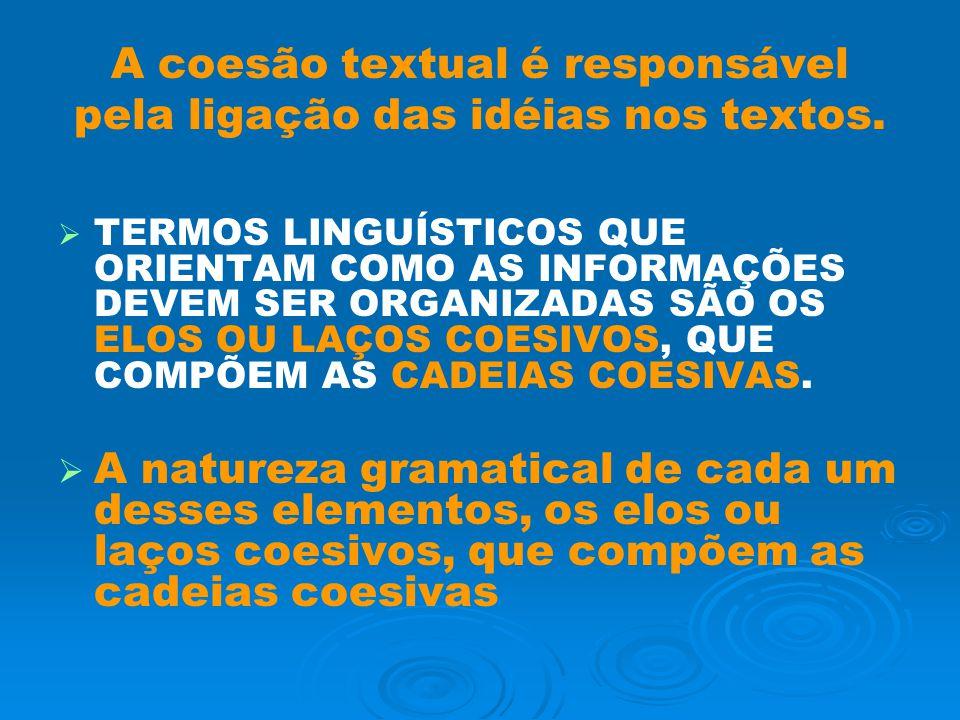 A coesão textual é responsável pela ligação das idéias nos textos.