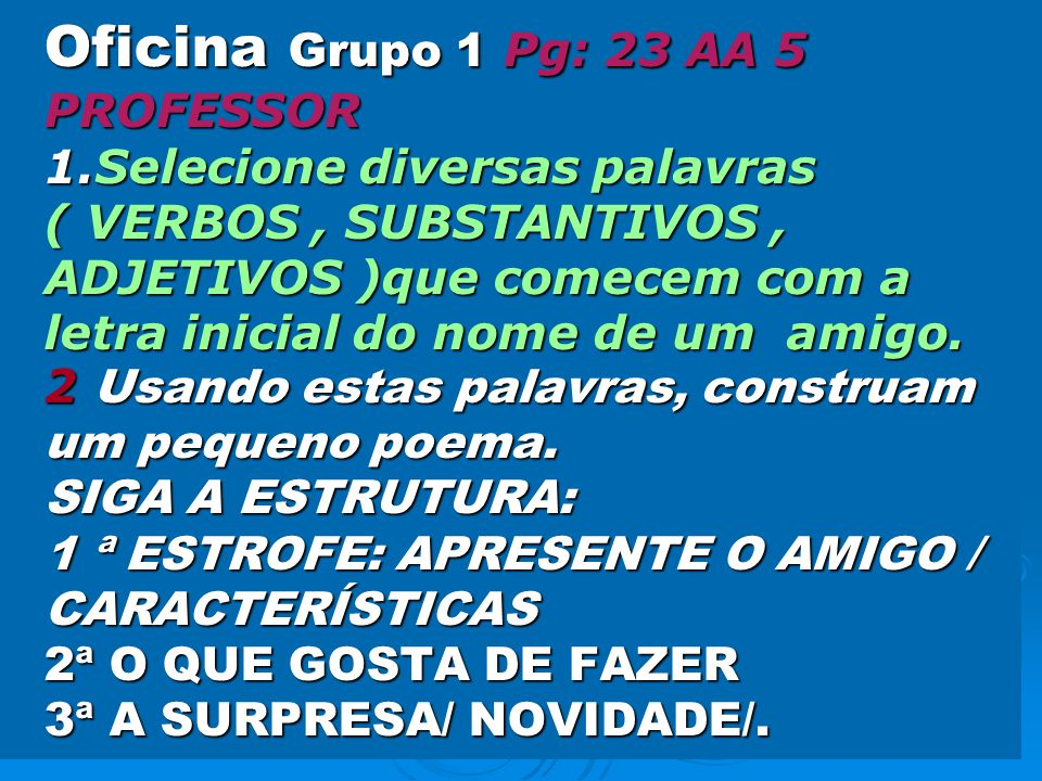 Oficina Grupo 1 Pg: 23 AA 5 PROFESSOR 1