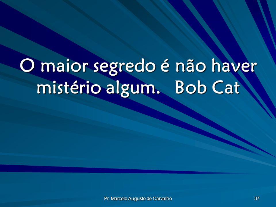 O maior segredo é não haver mistério algum. Bob Cat