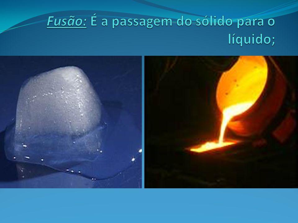 Fusão: É a passagem do sólido para o líquido;
