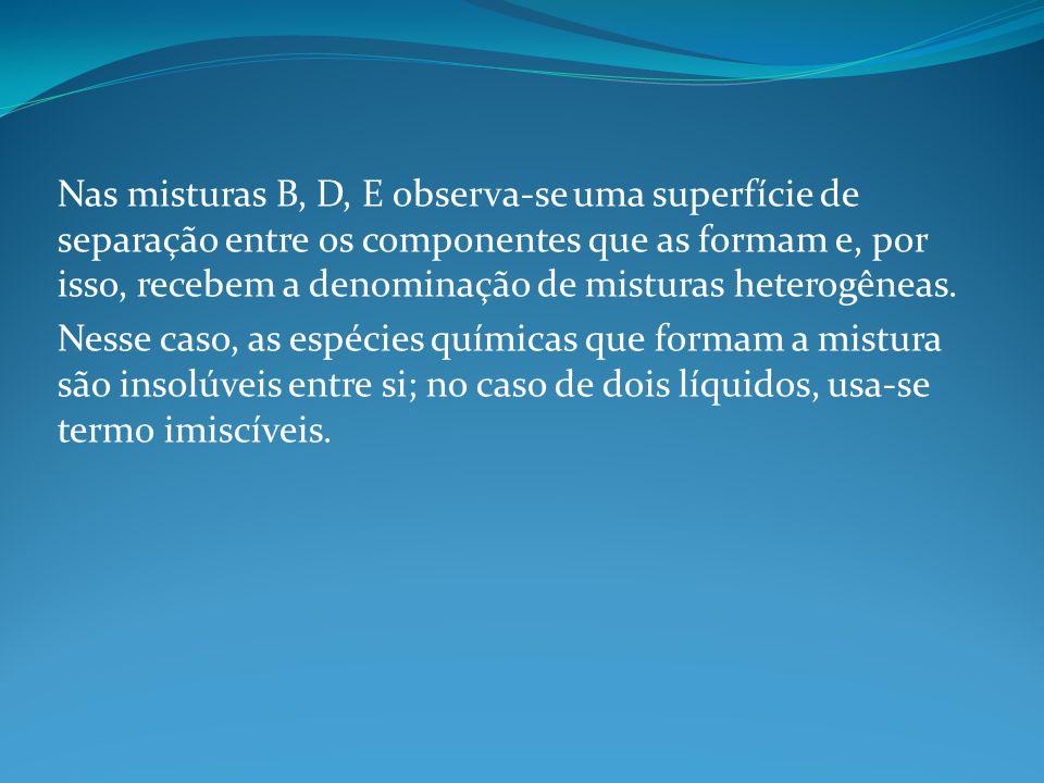 Nas misturas B, D, E observa-se uma superfície de separação entre os componentes que as formam e, por isso, recebem a denominação de misturas heterogêneas.