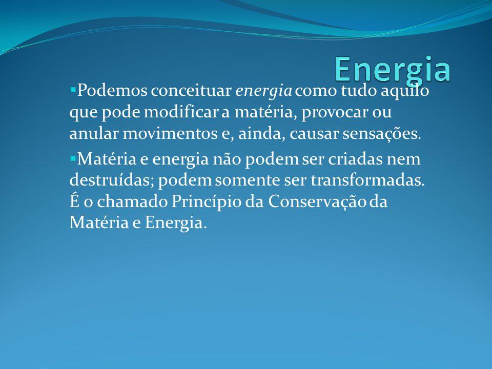 Energia Podemos conceituar energia como tudo aquilo que pode modificar a matéria, provocar ou anular movimentos e, ainda, causar sensações.