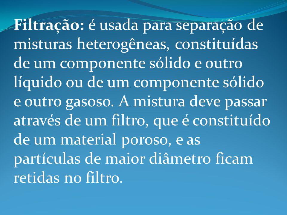 Filtração: é usada para separação de misturas heterogêneas, constituídas de um componente sólido e outro líquido ou de um componente sólido e outro gasoso.