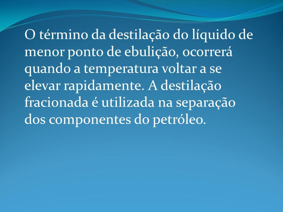 O término da destilação do líquido de menor ponto de ebulição, ocorrerá quando a temperatura voltar a se elevar rapidamente.
