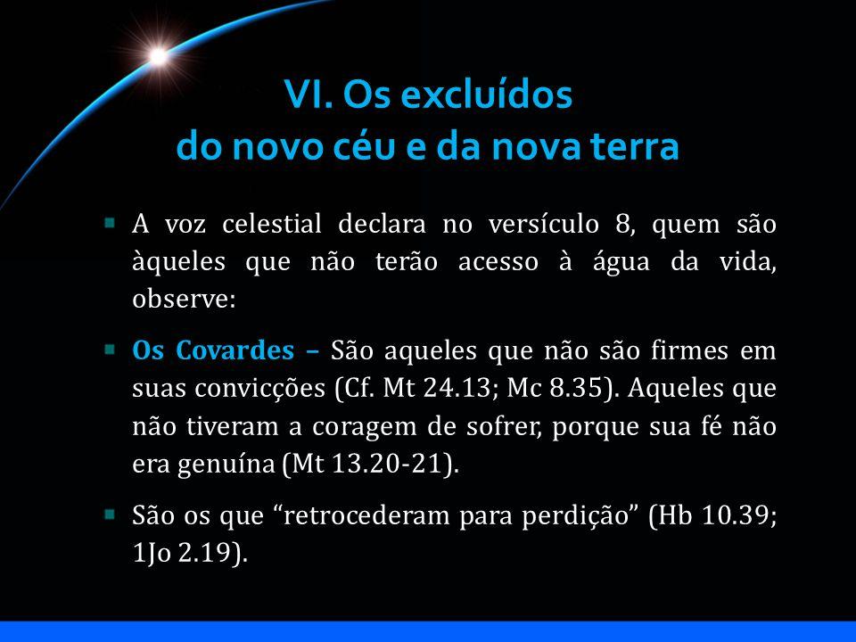 VI. Os excluídos do novo céu e da nova terra