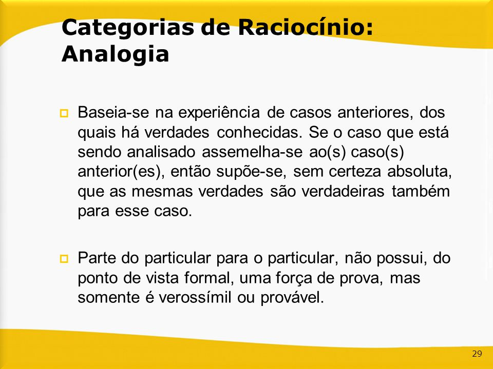 Categorias de Raciocínio: Analogia