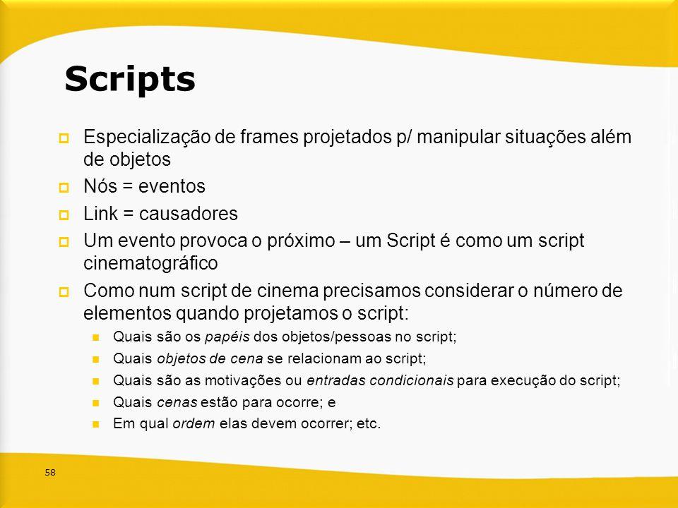 Scripts Especialização de frames projetados p/ manipular situações além de objetos. Nós = eventos.