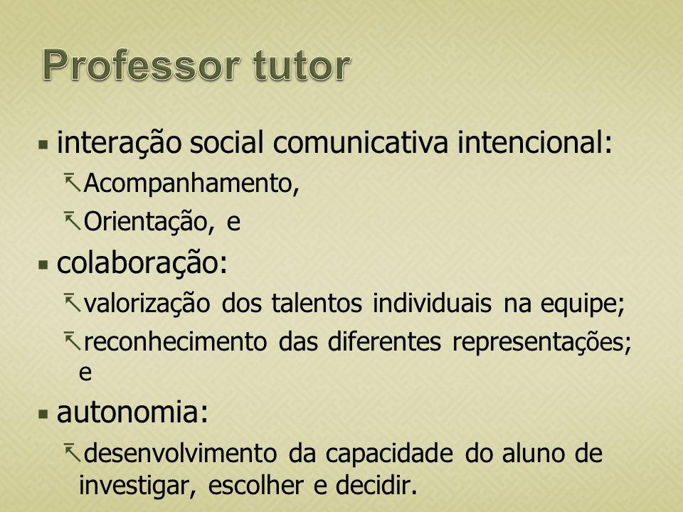 Professor tutor interação social comunicativa intencional: