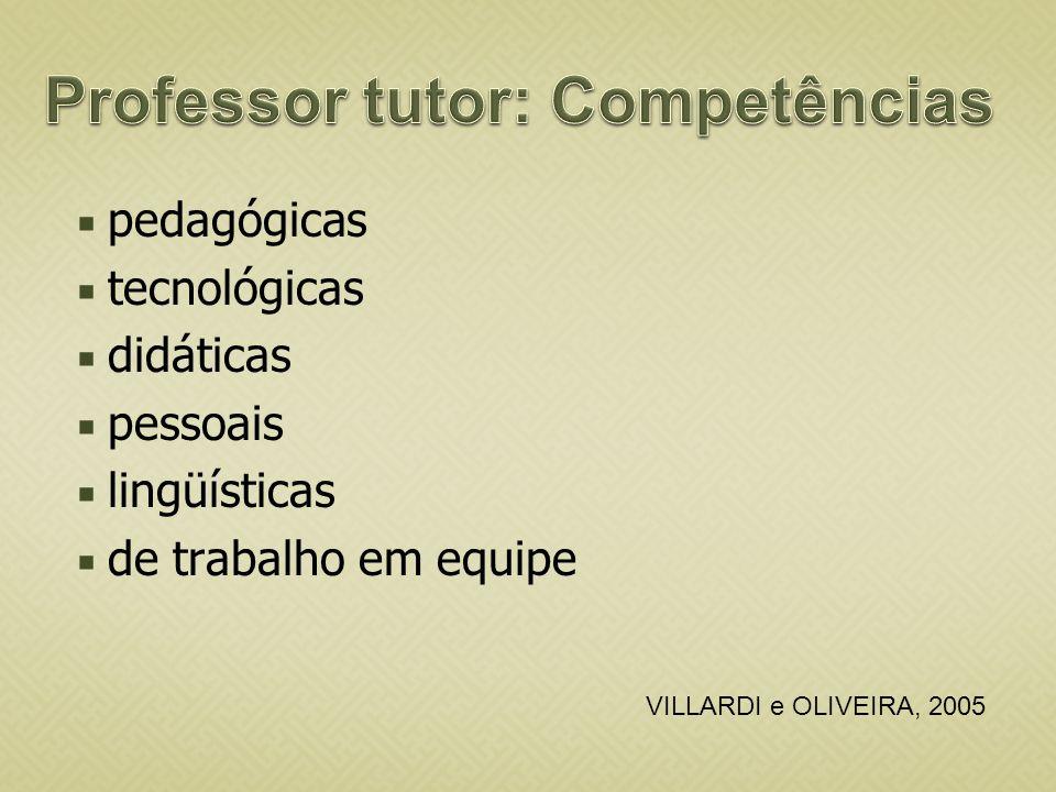 Professor tutor: Competências