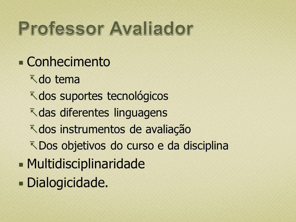 Professor Avaliador Conhecimento Multidisciplinaridade Dialogicidade.