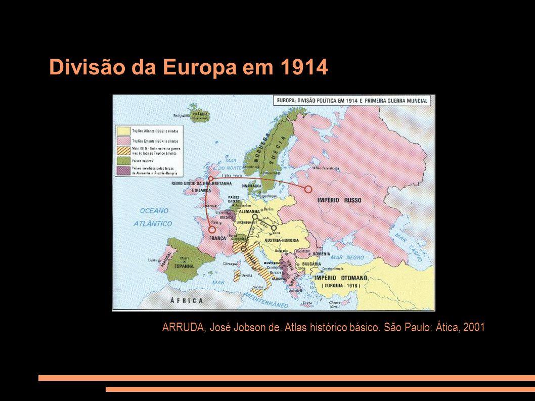 Divisão da Europa em 1914 ARRUDA, José Jobson de. Atlas histórico básico. São Paulo: Ática, 2001