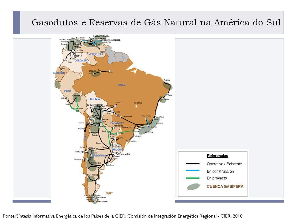 Gasodutos e Reservas de Gás Natural na América do Sul