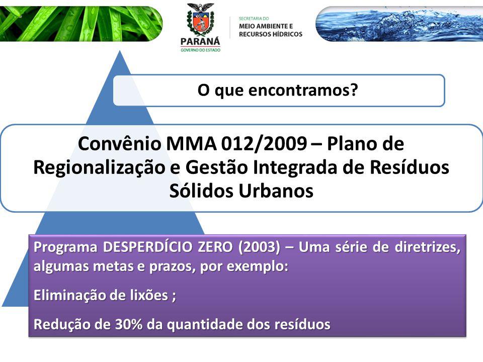 Convênio MMA 012/2009 – Plano de Regionalização e Gestão Integrada de Resíduos Sólidos Urbanos