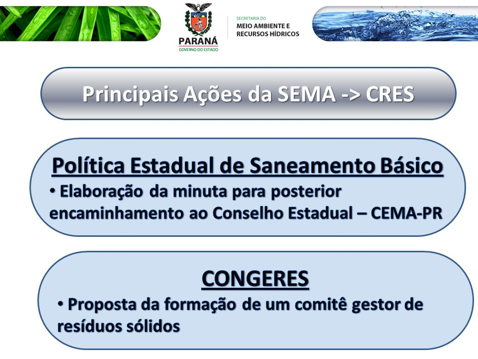 Principais Ações da SEMA -> CRES