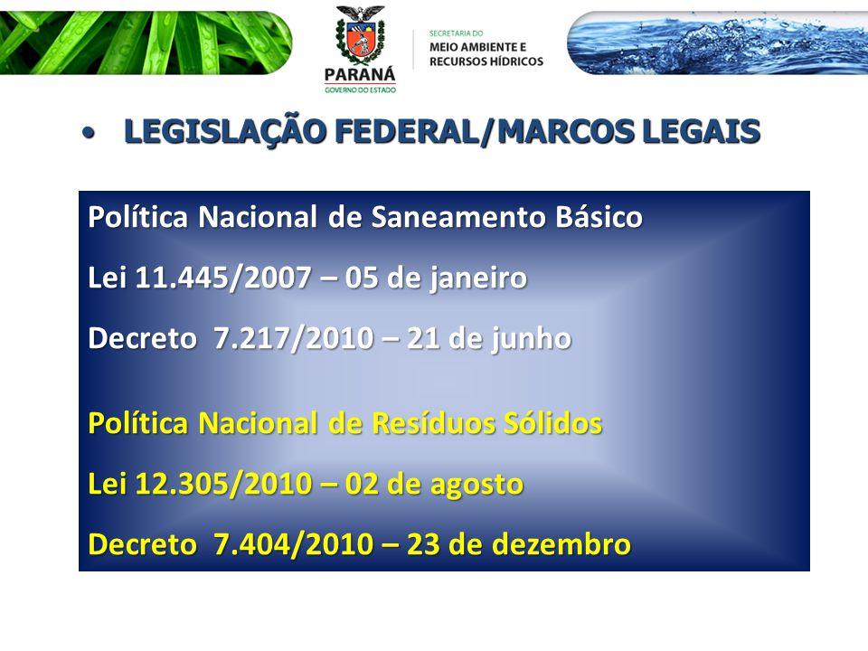 Política Nacional de Saneamento Básico Lei 11.445/2007 – 05 de janeiro