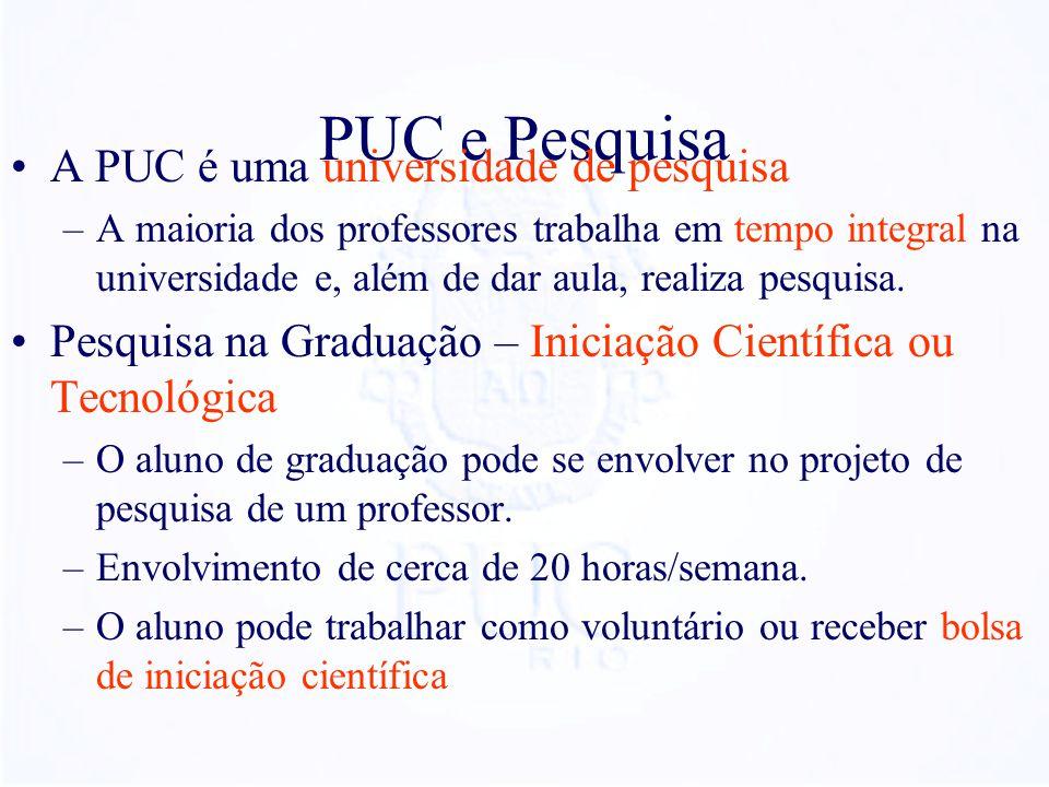 PUC e Pesquisa A PUC é uma universidade de pesquisa