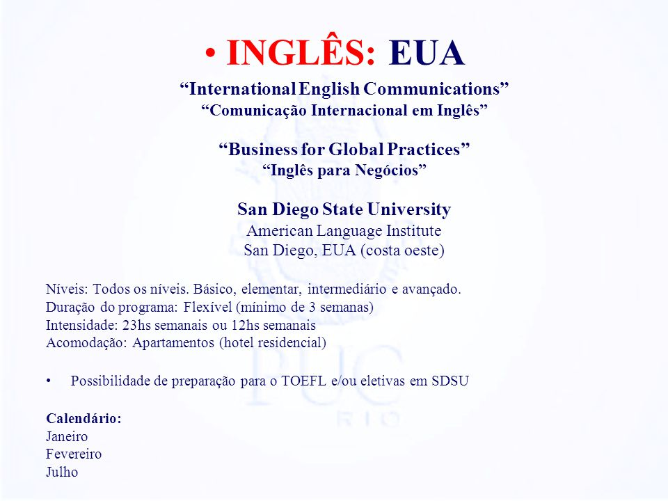 INGLÊS: EUA International English Communications