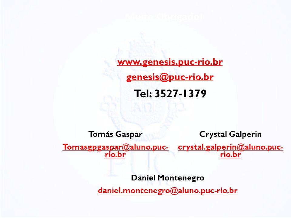 Muito Obrigado! Tel: 3527-1379 www.genesis.puc-rio.br