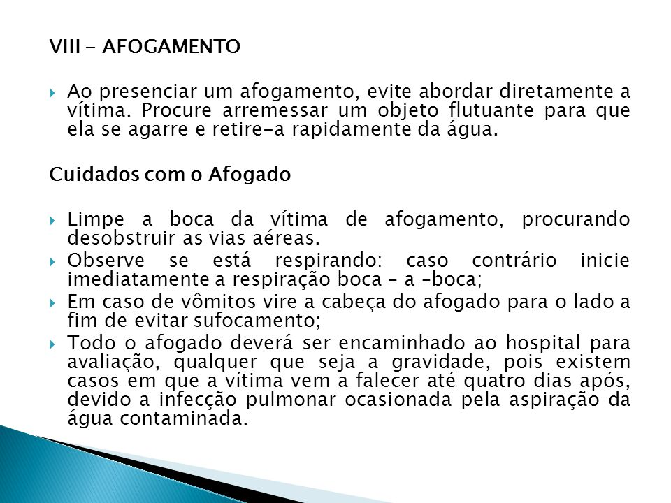 VIII - AFOGAMENTO