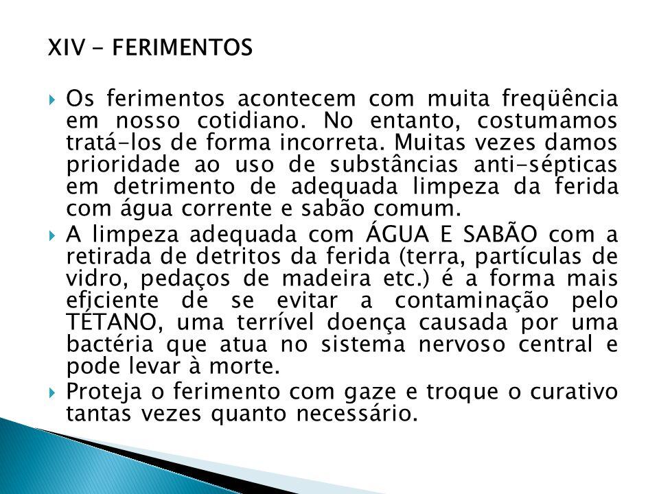 XIV - FERIMENTOS