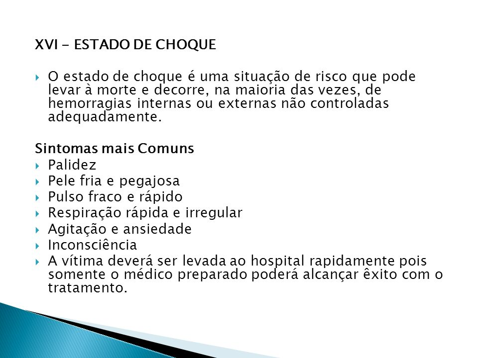 XVI - ESTADO DE CHOQUE