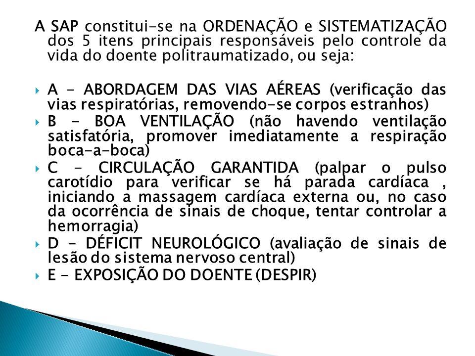 A SAP constitui-se na ORDENAÇÃO e SISTEMATIZAÇÃO dos 5 itens principais responsáveis pelo controle da vida do doente politraumatizado, ou seja: