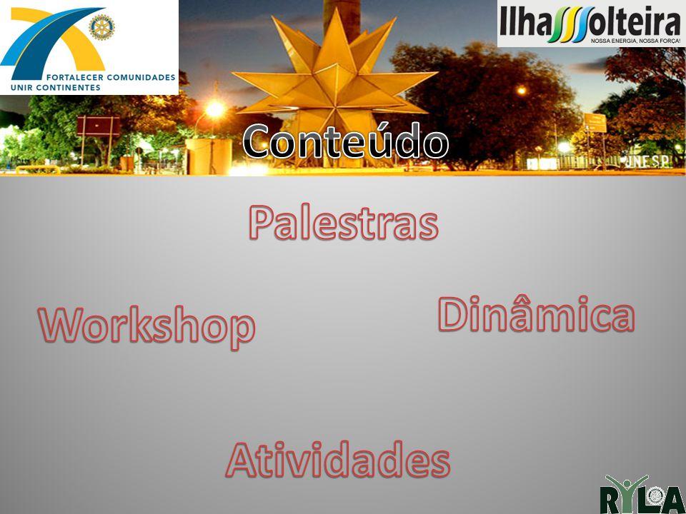 Conteúdo Palestras Dinâmica Workshop Atividades