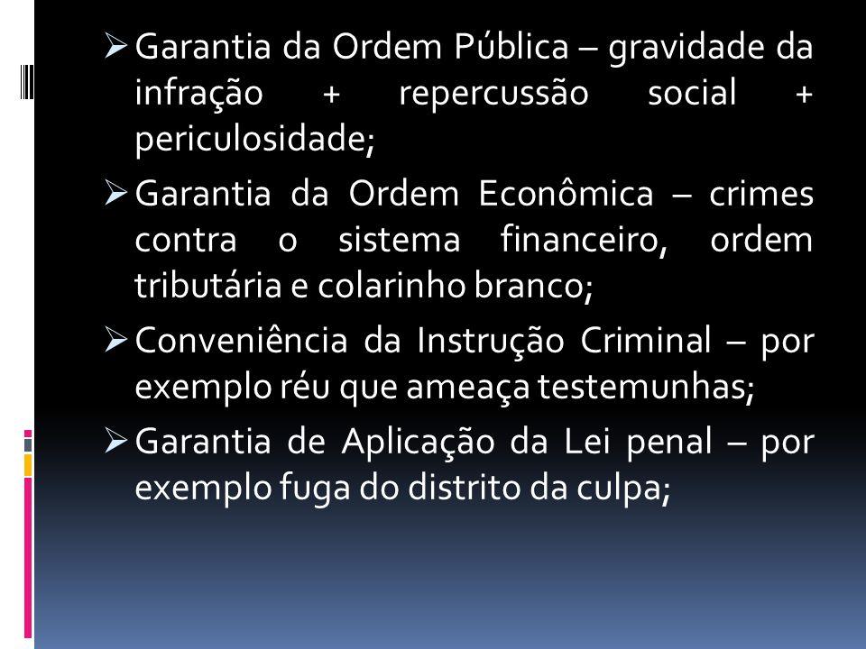 Garantia da Ordem Pública – gravidade da infração + repercussão social + periculosidade;