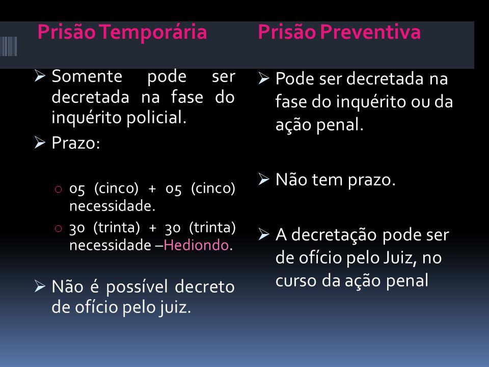 Prisão Temporária Prisão Preventiva. Somente pode ser decretada na fase do inquérito policial. Prazo: