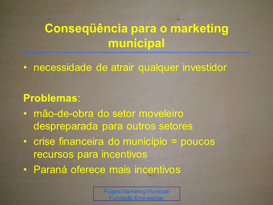 Conseqüência para o marketing municipal