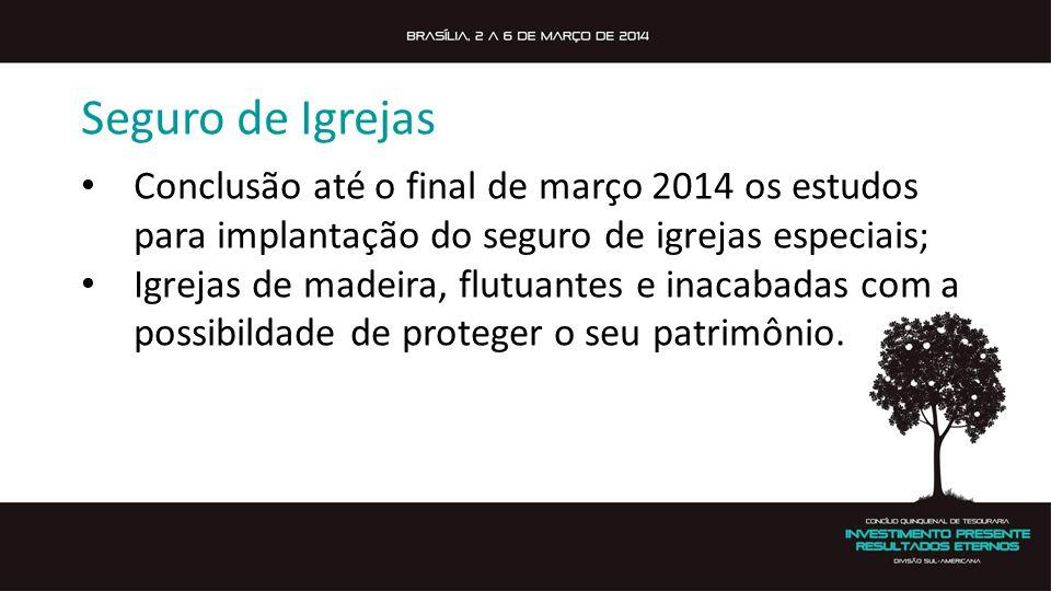 Seguro de Igrejas Conclusão até o final de março 2014 os estudos para implantação do seguro de igrejas especiais;