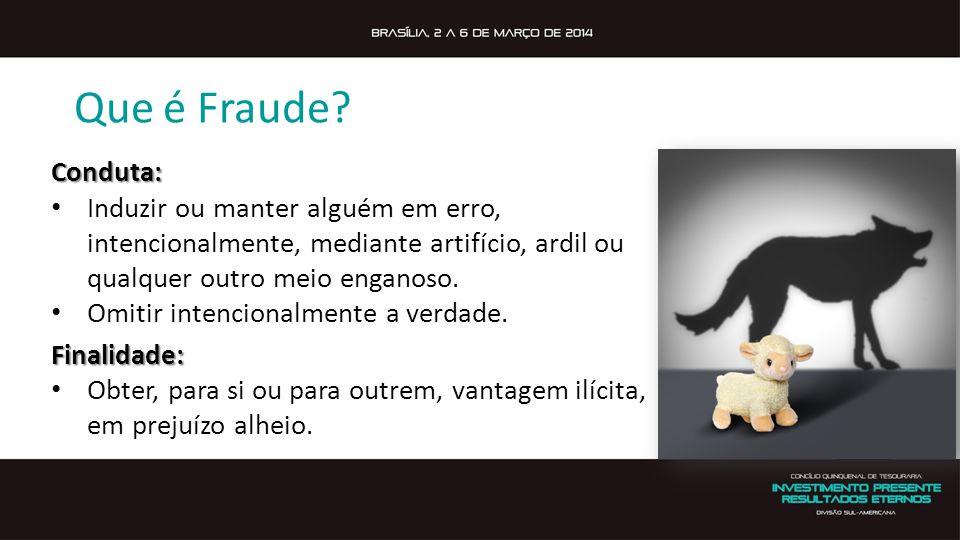 Que é Fraude Conduta: Induzir ou manter alguém em erro, intencionalmente, mediante artifício, ardil ou qualquer outro meio enganoso.