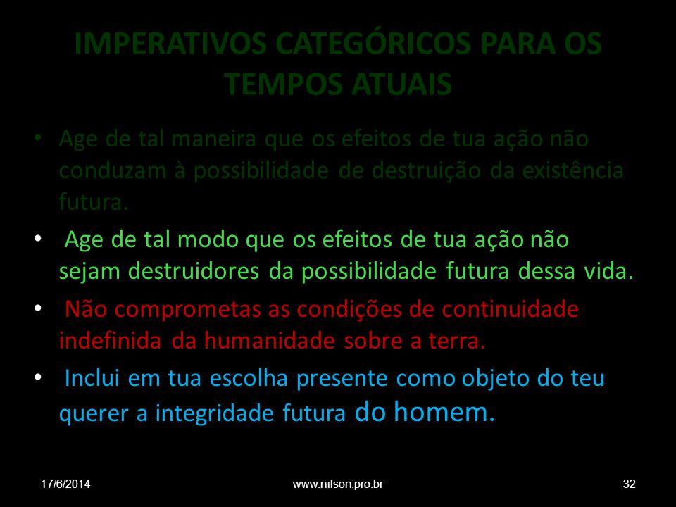 IMPERATIVOS CATEGÓRICOS PARA OS TEMPOS ATUAIS