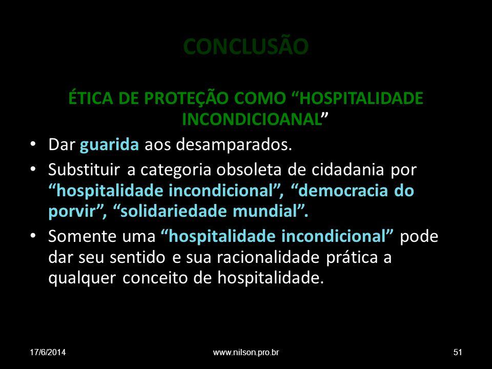 ÉTICA DE PROTEÇÃO COMO HOSPITALIDADE INCONDICIOANAL