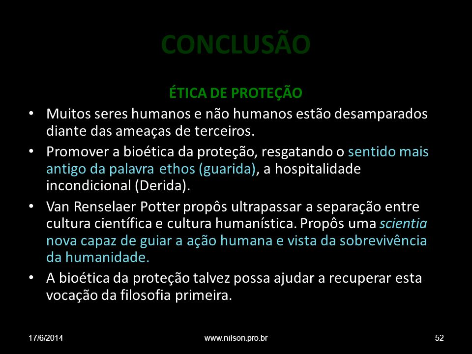 CONCLUSÃO ÉTICA DE PROTEÇÃO
