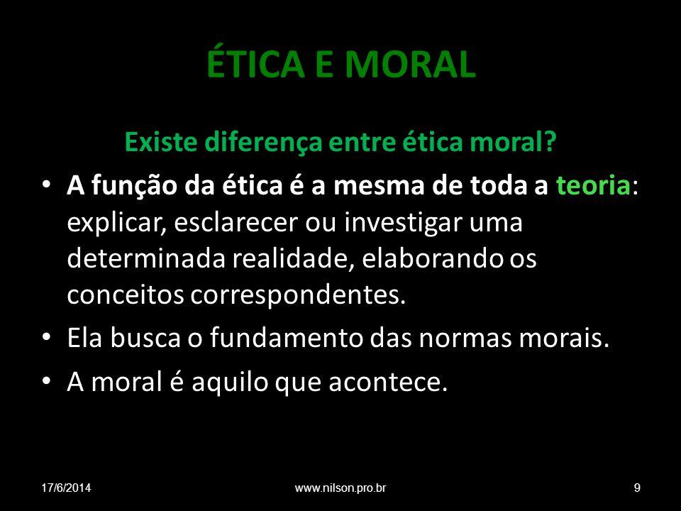 Existe diferença entre ética moral
