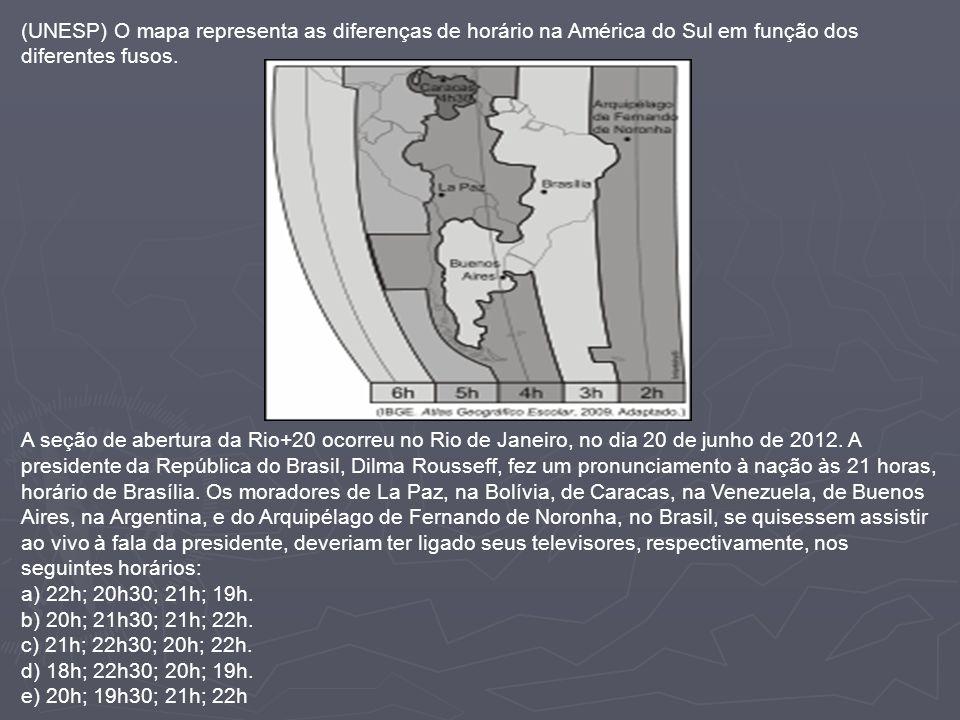 (UNESP) O mapa representa as diferenças de horário na América do Sul em função dos diferentes fusos.