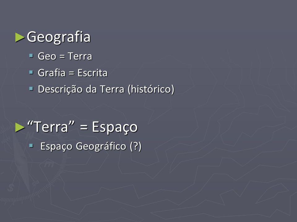 Geografia Terra = Espaço Geo = Terra Grafia = Escrita