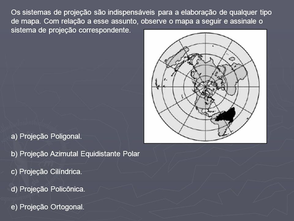 Os sistemas de projeção são indispensáveis para a elaboração de qualquer tipo de mapa. Com relação a esse assunto, observe o mapa a seguir e assinale o sistema de projeção correspondente.