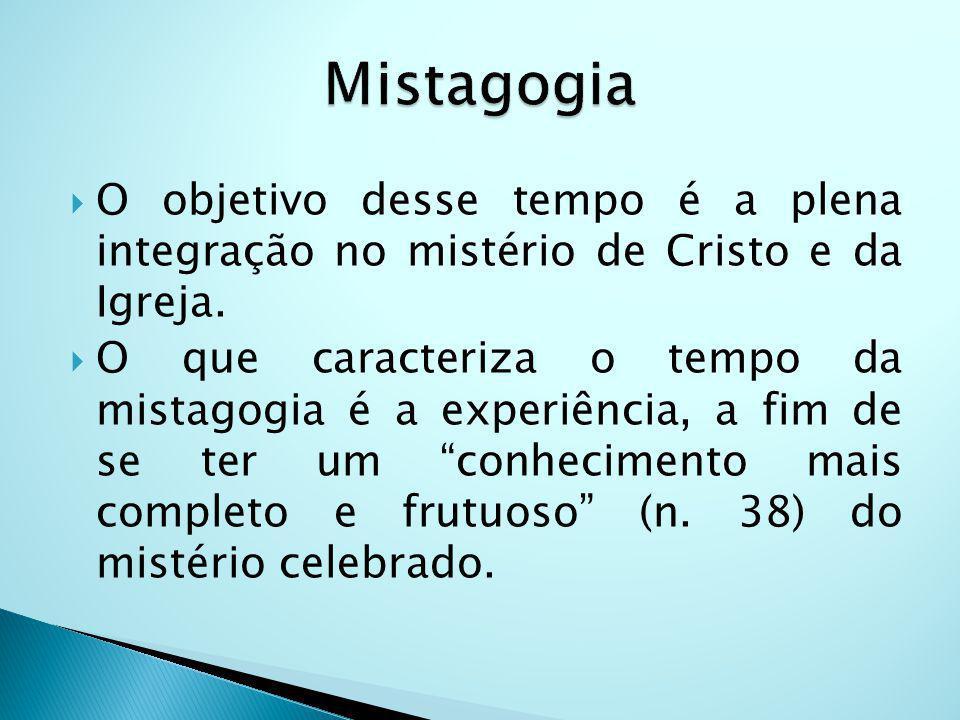 Mistagogia O objetivo desse tempo é a plena integração no mistério de Cristo e da Igreja.