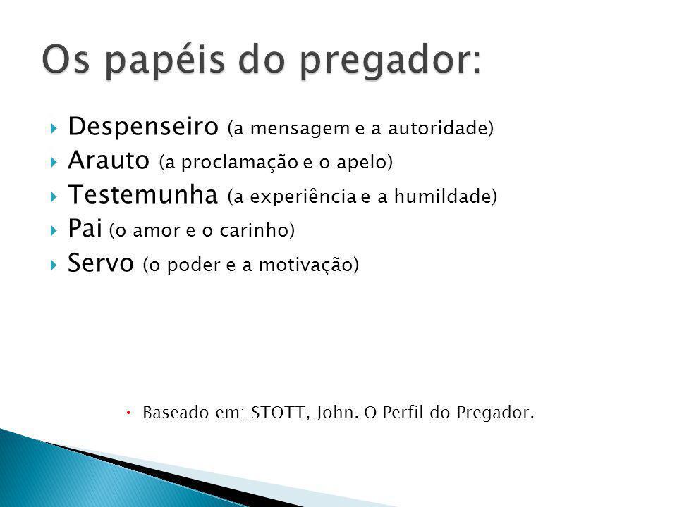 Os papéis do pregador: Despenseiro (a mensagem e a autoridade)