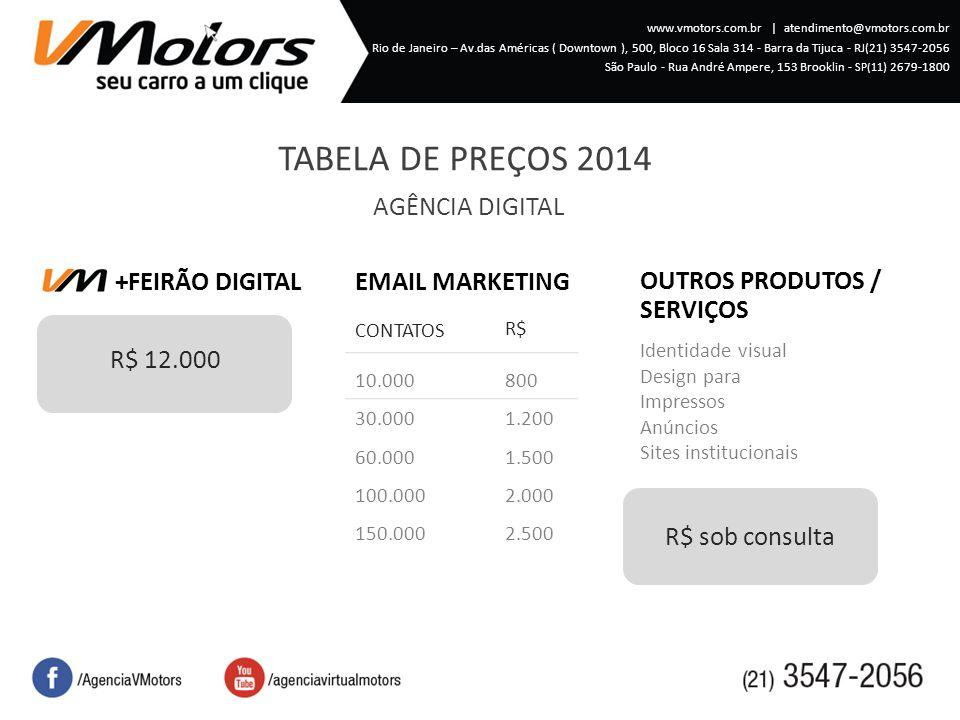TABELA DE PREÇOS 2014 AGÊNCIA DIGITAL EMAIL MARKETING +FEIRÃO DIGITAL